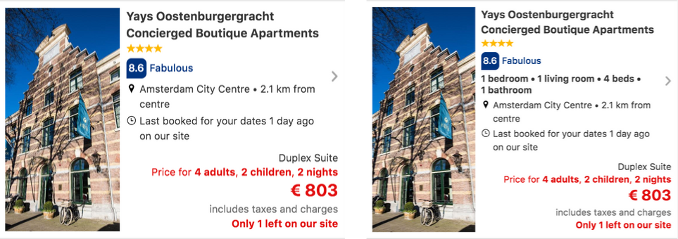Two variants of a booking.com listing where one displays furnishing details while the other does not.