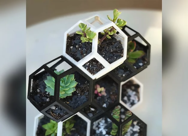 3d printed geometric stacking plant holder for succulents