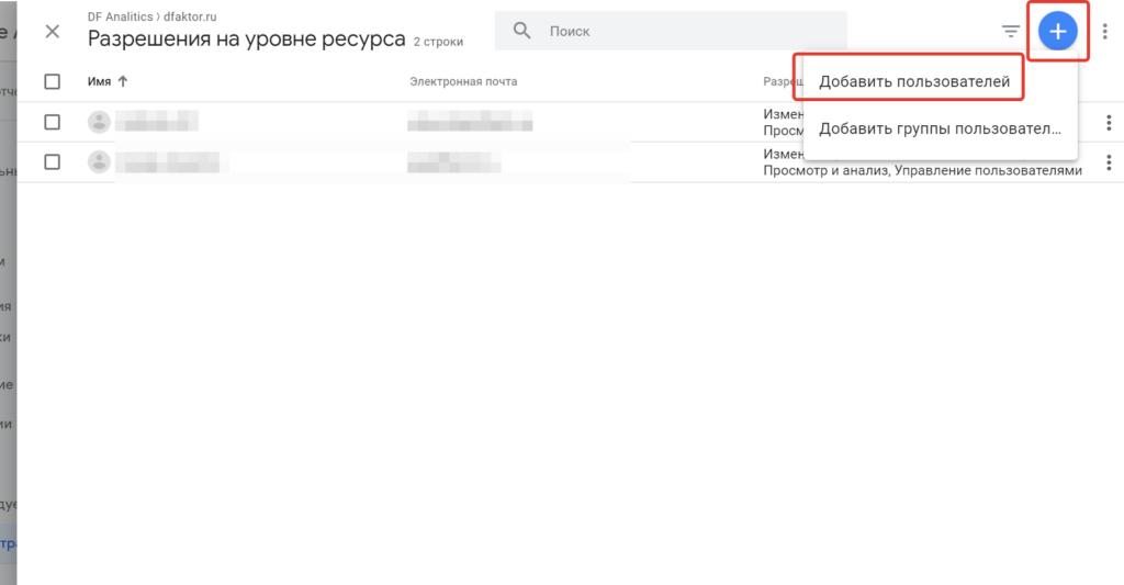 Добавление пользователя в Google Analytics