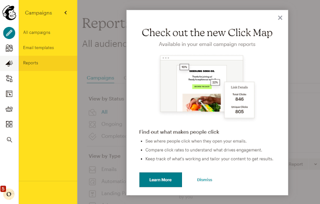 Mailchimp targets customers that upgraded from the free version and aim to use the Reporting functionality with new capabilities new available for them
