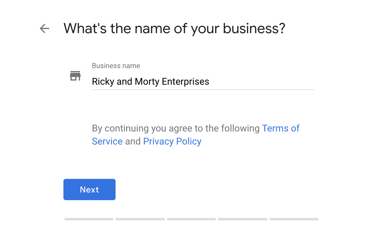 Google My Business setting up a business name.