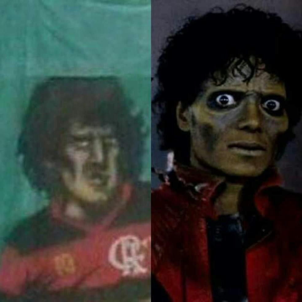 Zico parecendo um Zumbi no mosaico do Flamengo