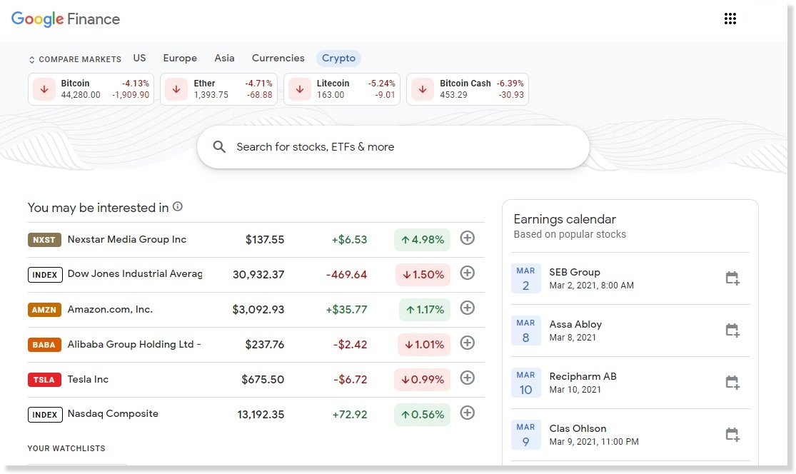 Google Finance users can now view the top cryptocurrency prices in one click 1