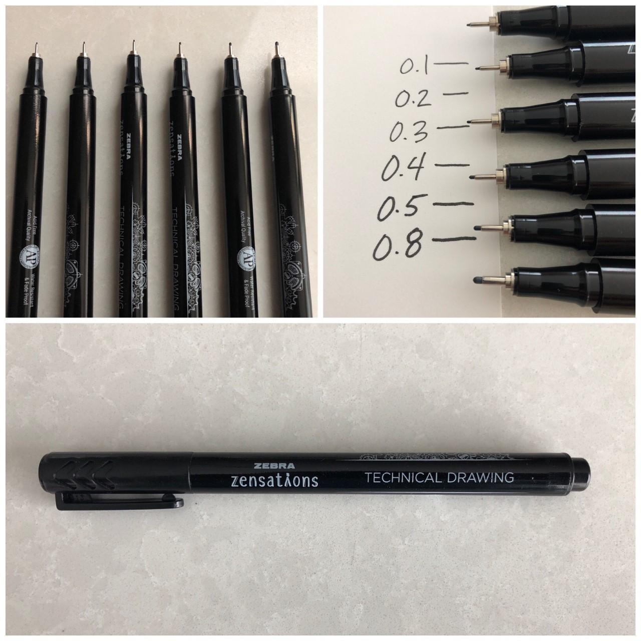 Zensations Technical Pens with varying point tip sizes