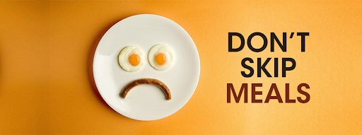 don't skip meals graphic with plate with smiley face