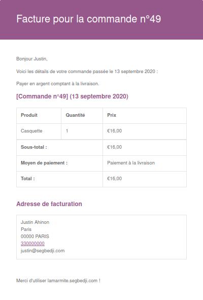 Exemple d'une facture WooCommerce envoyée avec l'outil natif