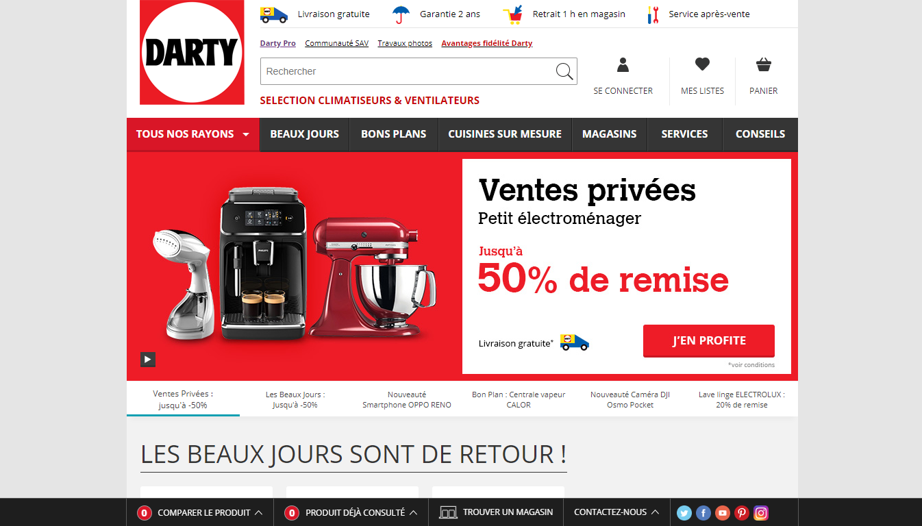 Homepage Darty, a French marketplace