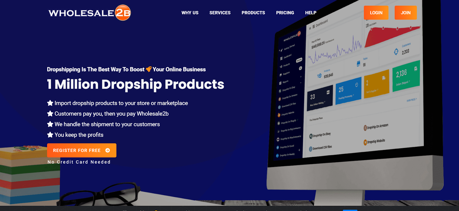 wholsale2b dropshipping website