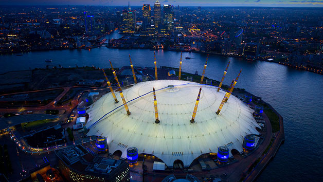 outside of the O2 at night
