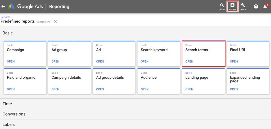 Highlighted search terms in the Google Ads reporting dashboard.