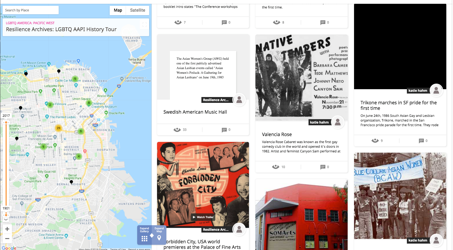 Screenshot of the Queer APA History Tour website. At left is a map of San Francisco's Mission District with pinned locations. At right are photos and text explaining the significance of the pins.