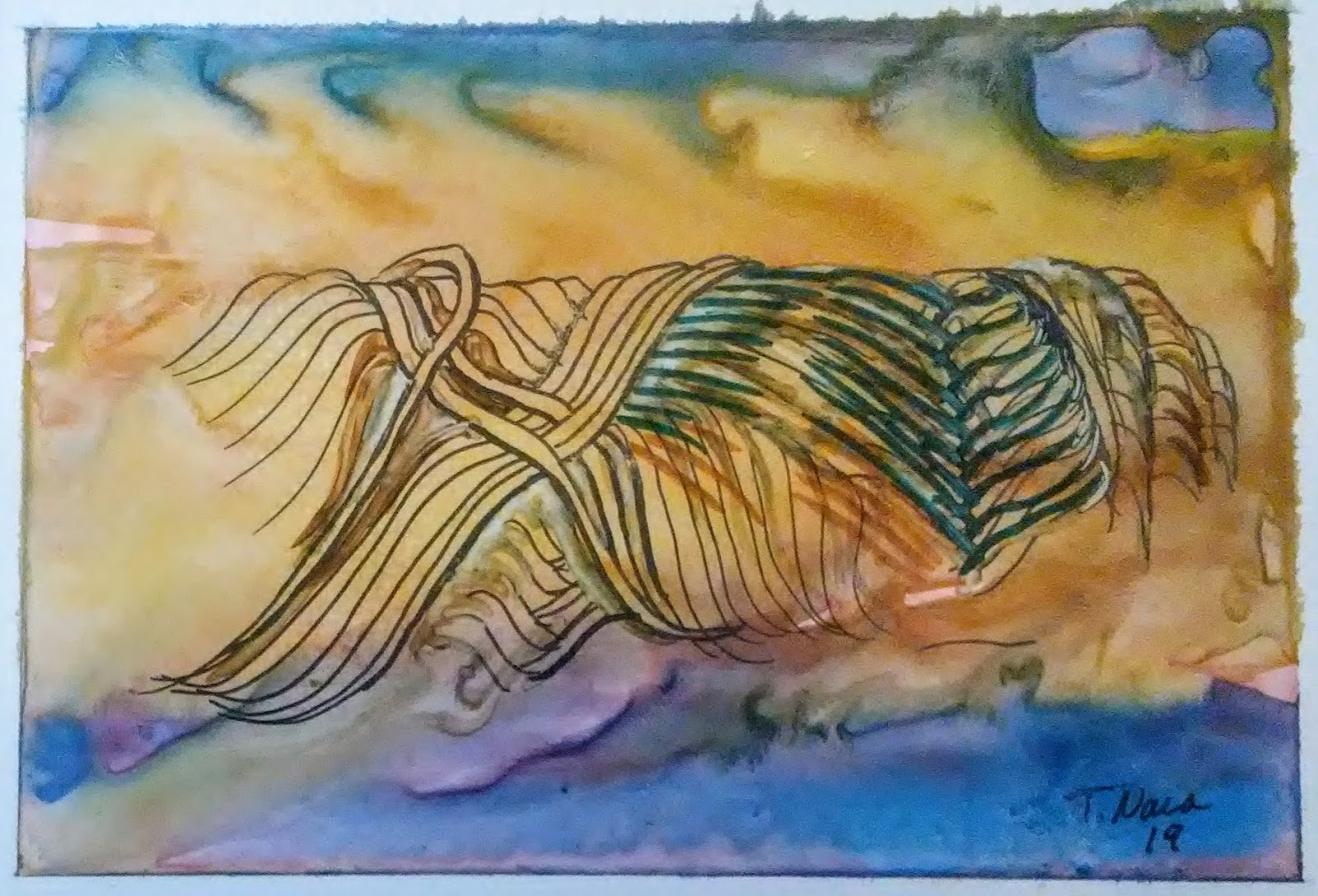 blue and yellow abstract painting of a skein of yarn