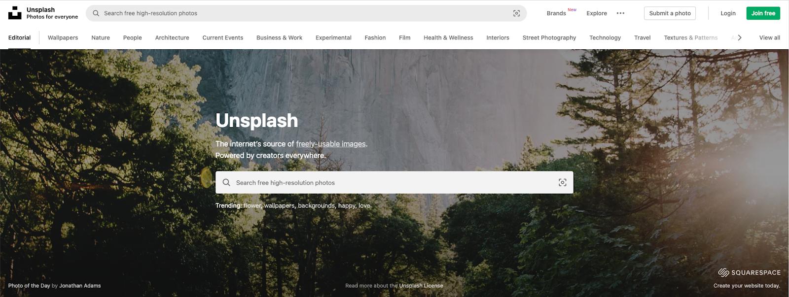Unsplash homepage screengrab