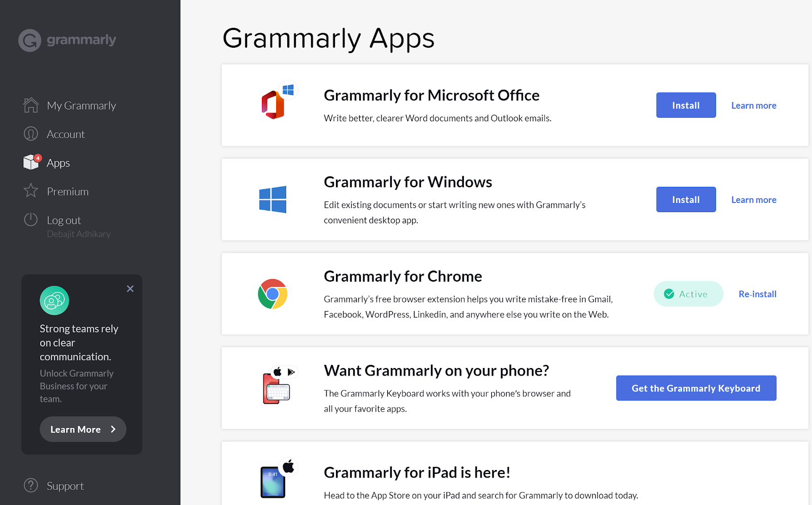 Write content with Grammarly