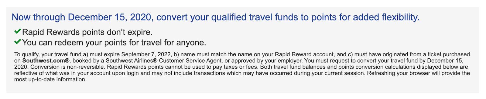 Screenshot of Southwest Travel Funds information