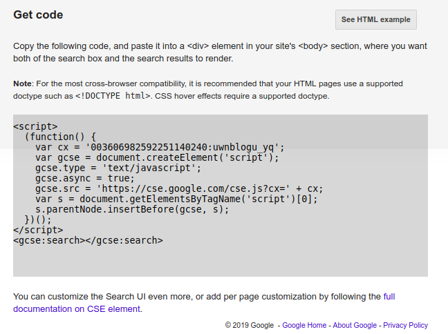 Google Code Snippet