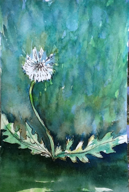 green and white painting of a dandelion