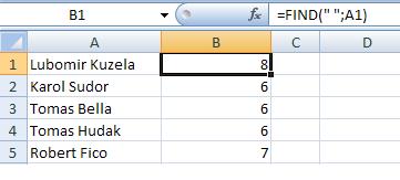 Excel: Práca s textovými reťazcami v bunkách 3