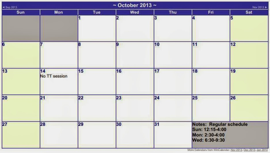 October schedule for the TT sessions