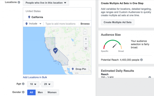 Image result for facebook ads large audience