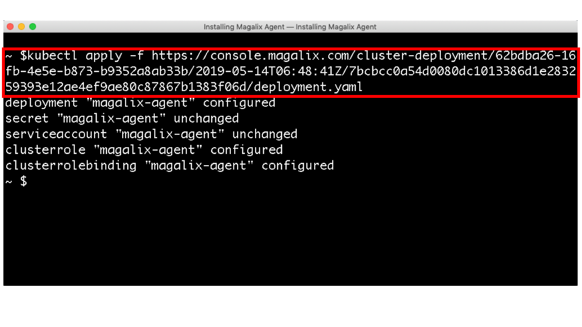 single kubectl command to install magalix agent on kuberentes cluster