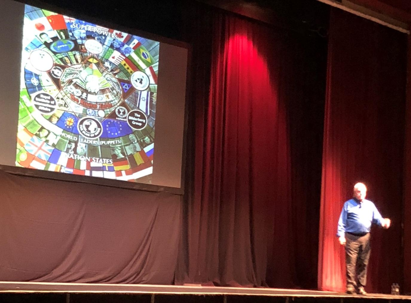 A photo taken at the 2018 David Icke tour. David Icke stands on a stage in Southport wearing a blue shirt, black trousers and a pair of brown boots. The screen at the back of the stage shows a complicated web of many organisations connected with conspiracy theories and an illuminati pyramid in the centre.