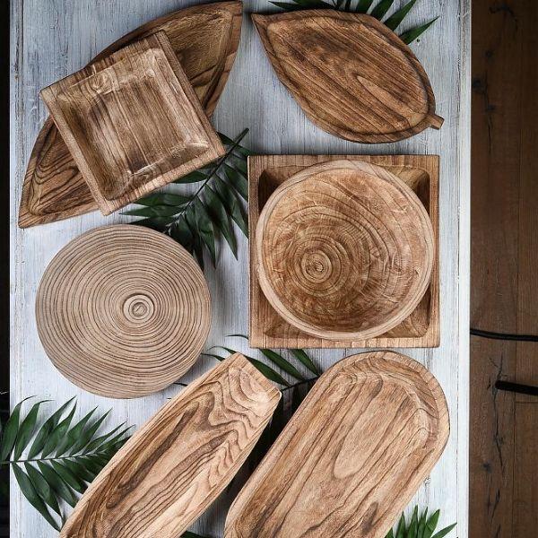 Set de platouri din lemn de acacia pentru servire in restaurant - RoseHome