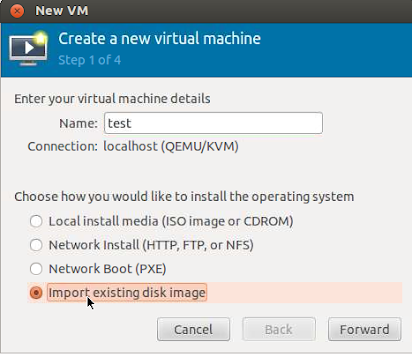 qemu, virt-manager] How to import a qcow2 to virtual image storage