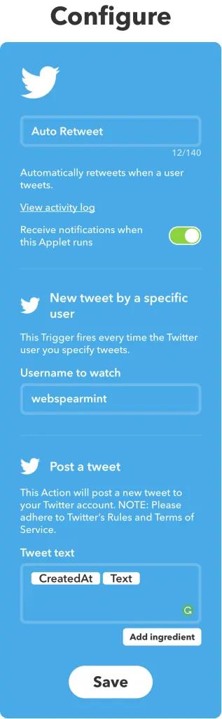 test your applet - auto retweet tools - TweetJumbo.com- twitter automation bot tool