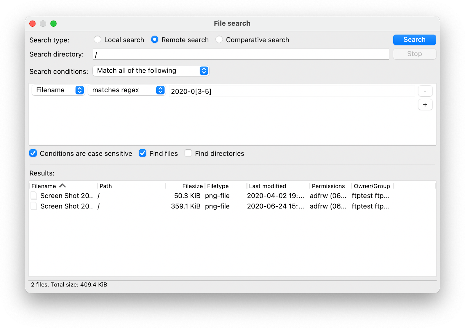 FileZilla search and directory listing filters.