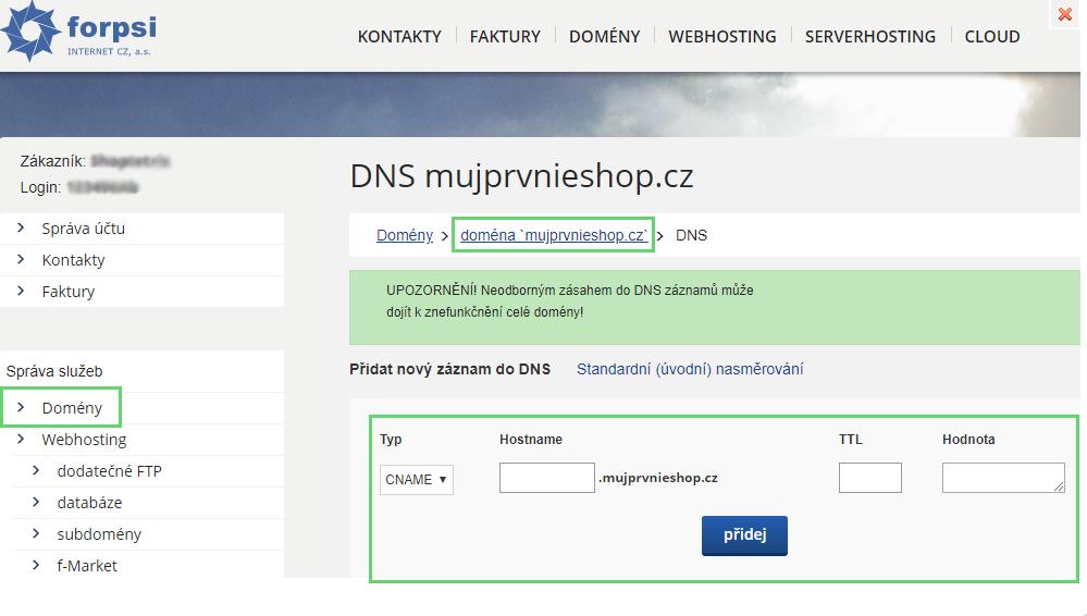 Nastavení DNS záznamů pro Forpsi
