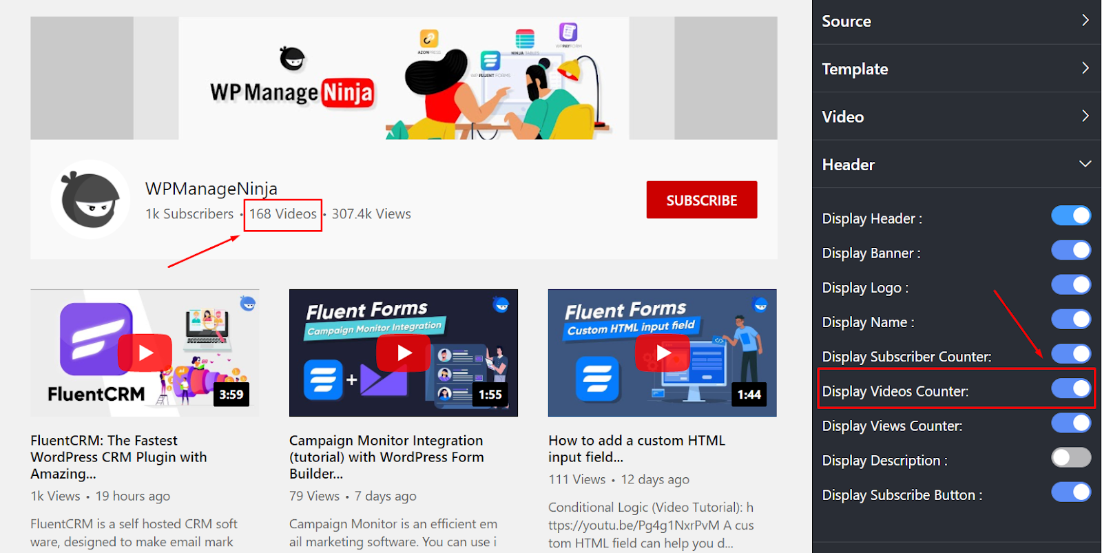 Display videos counter