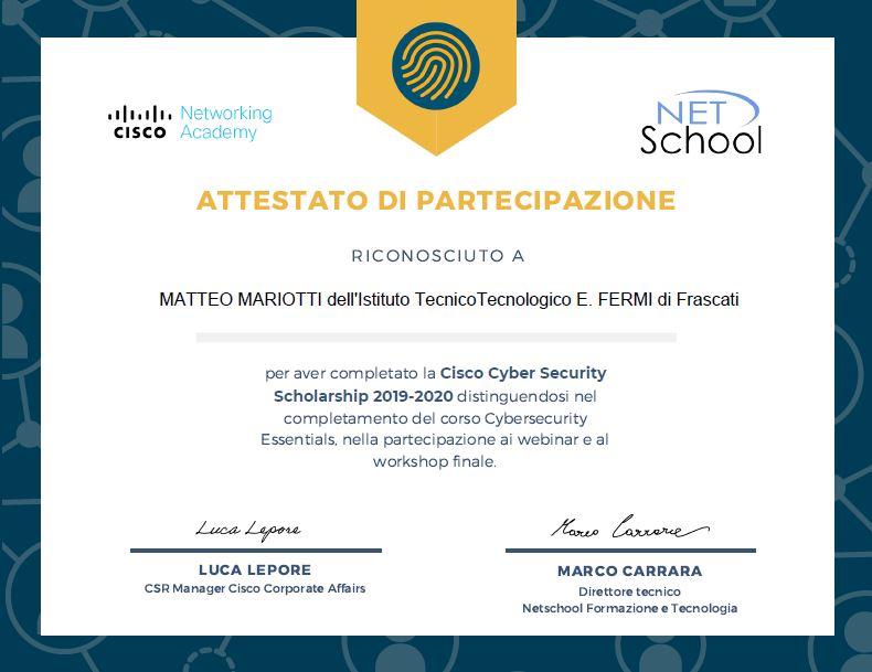 Attestato Mariotti
