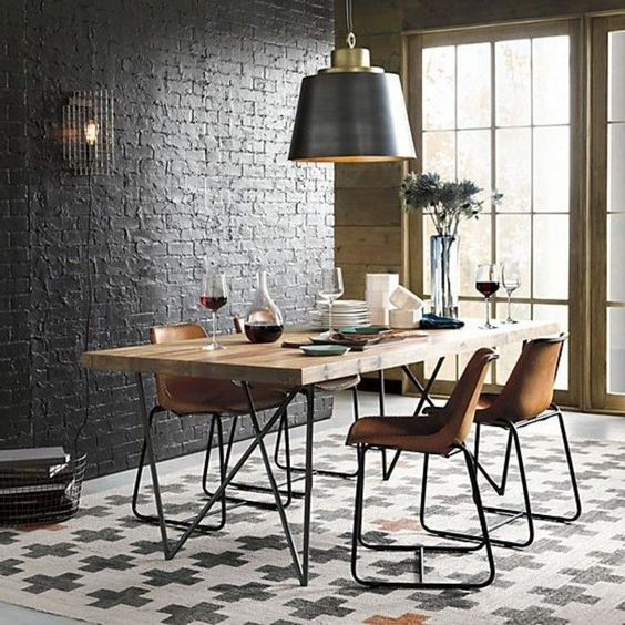 Industrial Wall Brings Your Dining Room a Fresh Modern Space