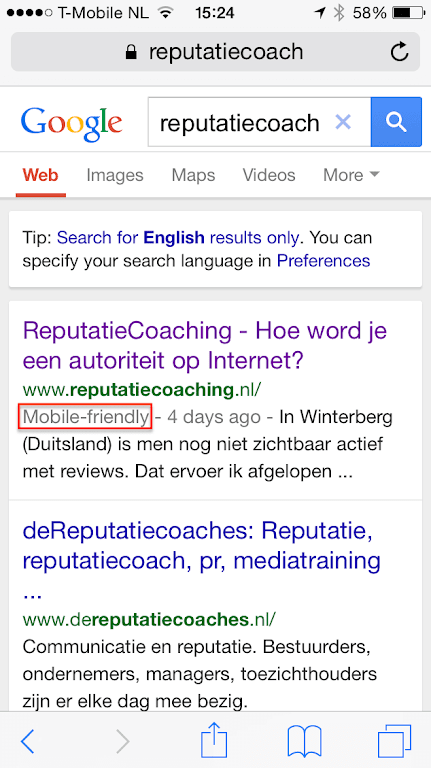 reputatiecoaching.nl is inderdaad mobile-friendly in de Google zoekresultaten