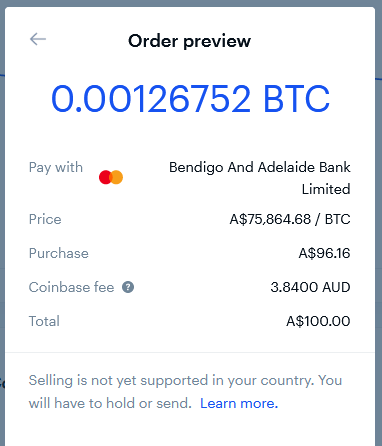 Screenshot of a Bitcoin purchase order from Coinbase.
