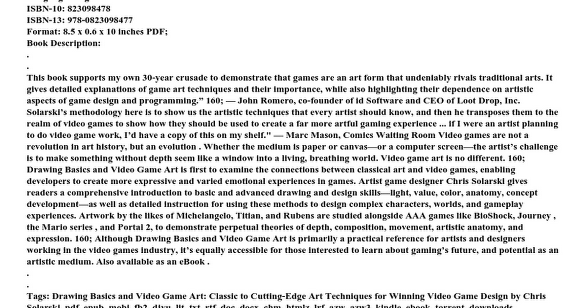 Drawing Basics And Video Game Art Classic To Cuttingedge Art - Game design document pdf