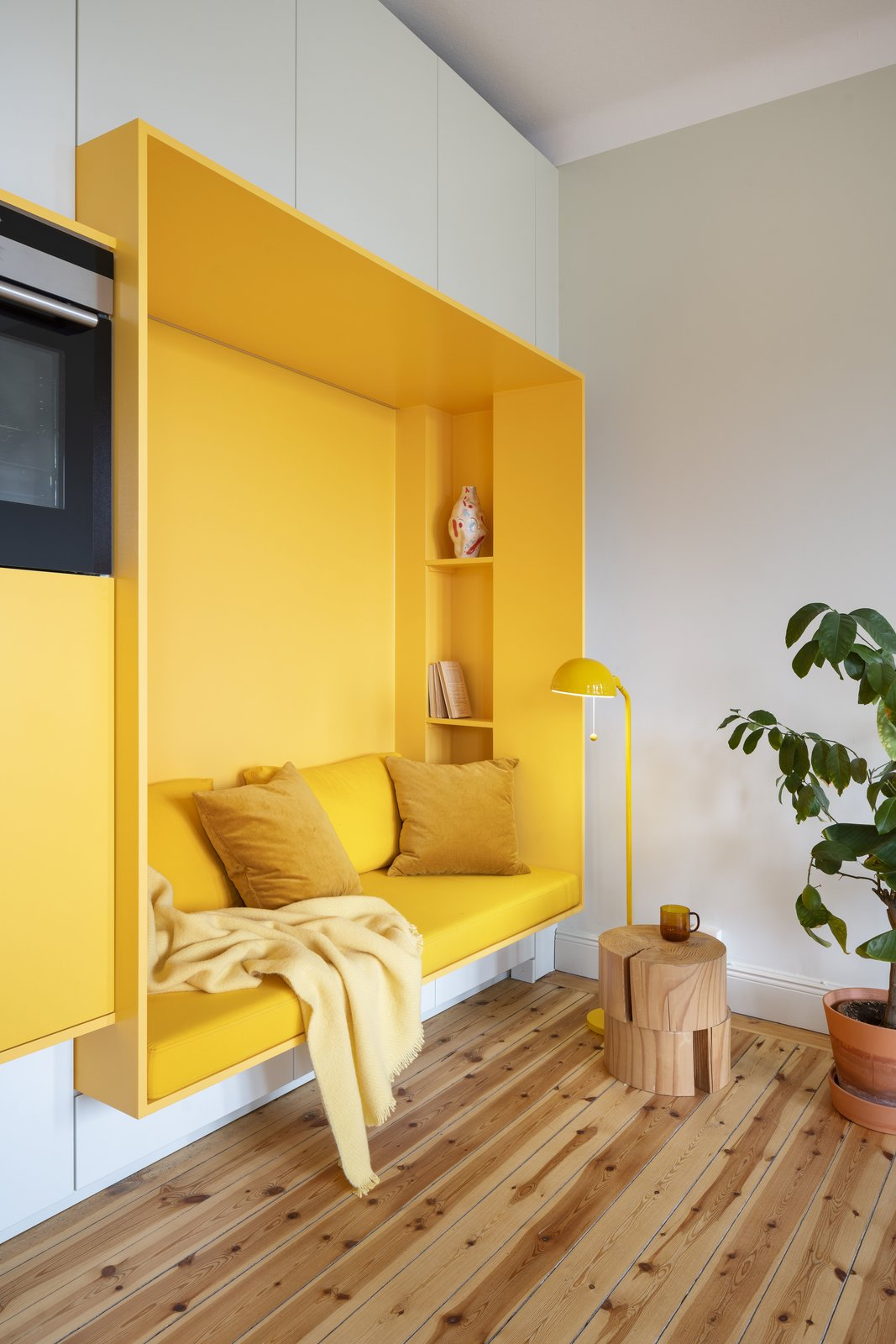 Bright yellow built-in seating