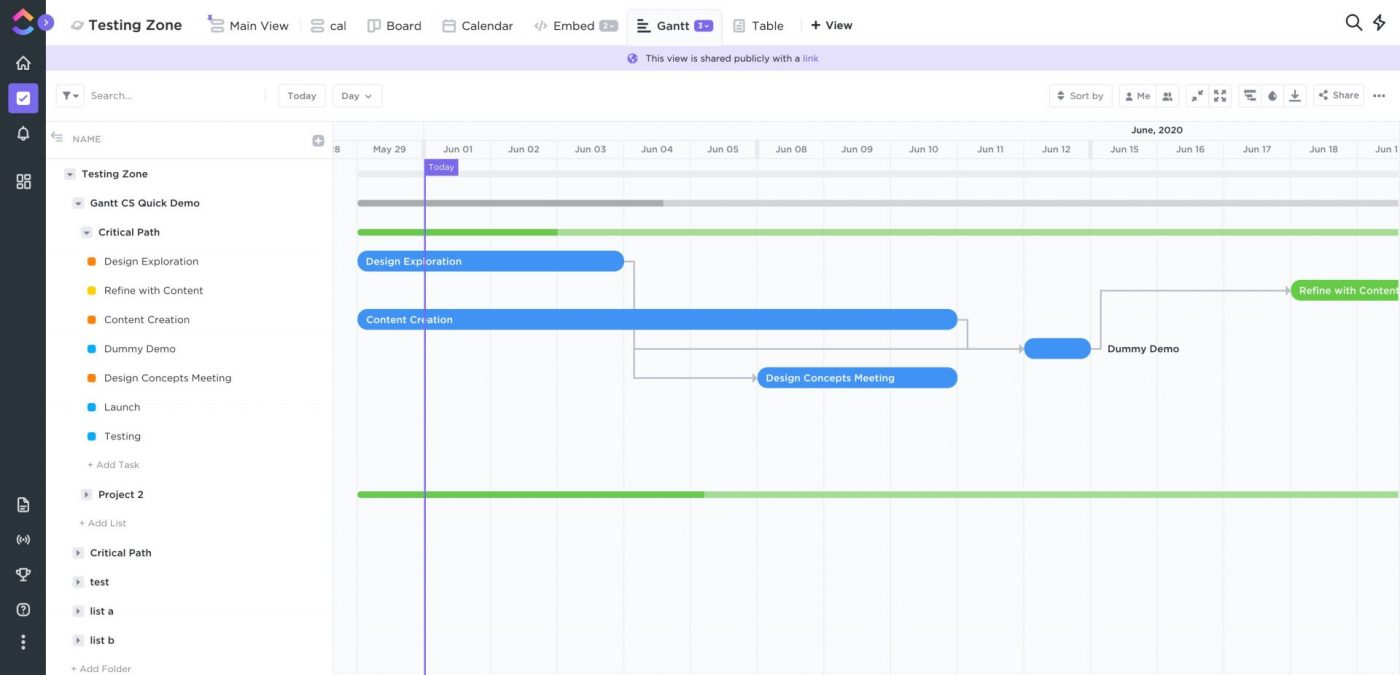 ClickUp Product Roadmap Screenshot