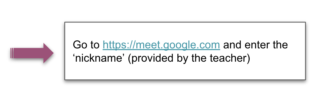 Purple arrow pointing to the meet.google.com web address with placeholder text for the nickname used to access the meeting.