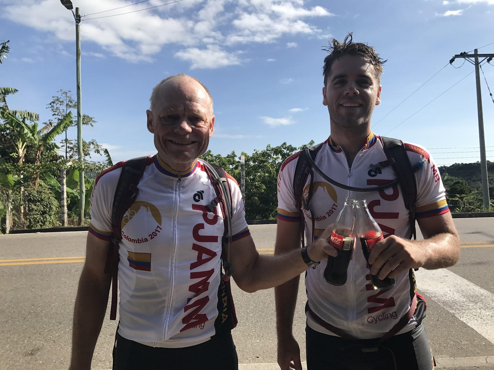 John Johnson and Will Plaugher at finish of Alto de Letras bike ride.