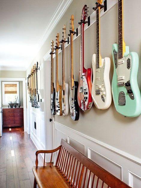 Guitar Display Along the Corridor Wall
