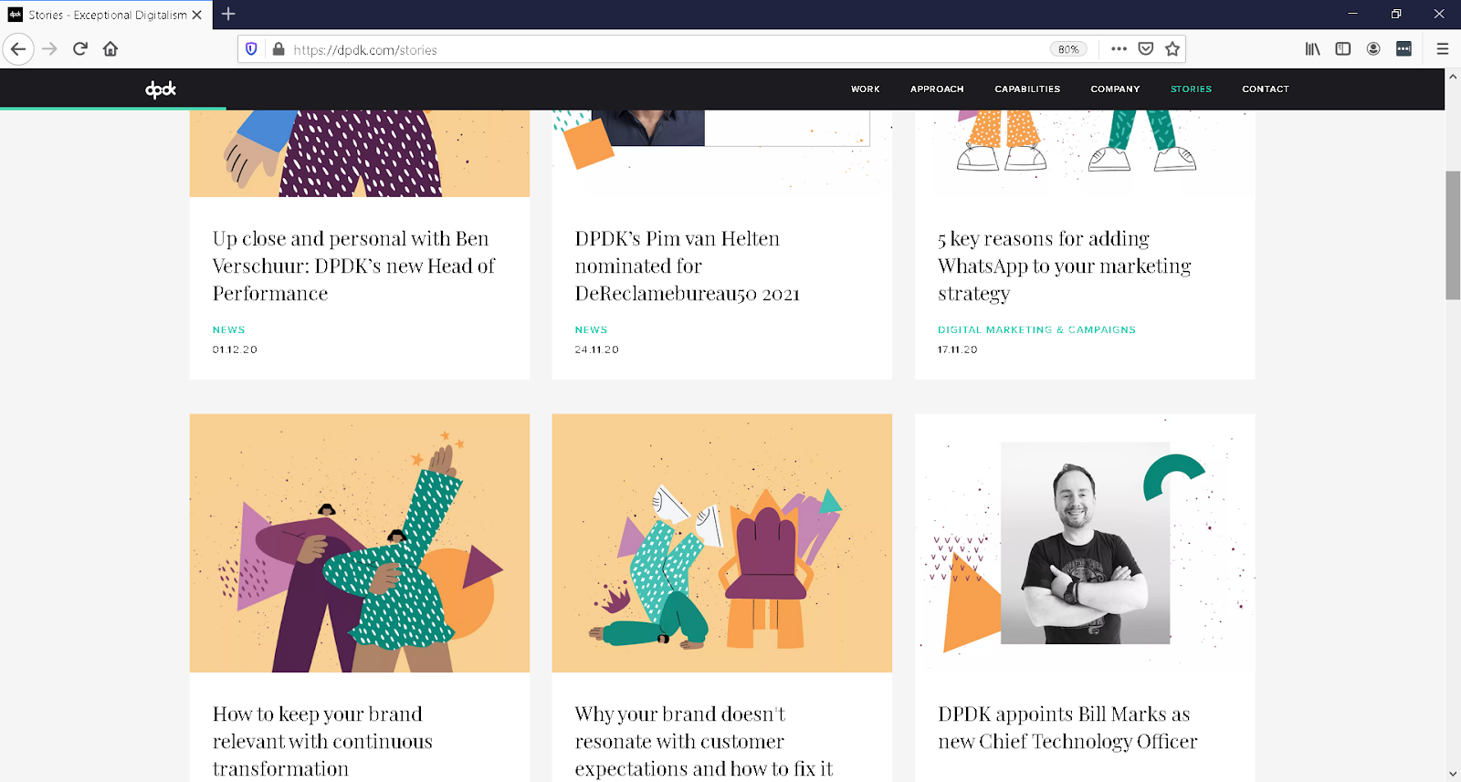 The DPDK website is shown with various pieces of content, such as articles, all of which had images from its inclusive design system.