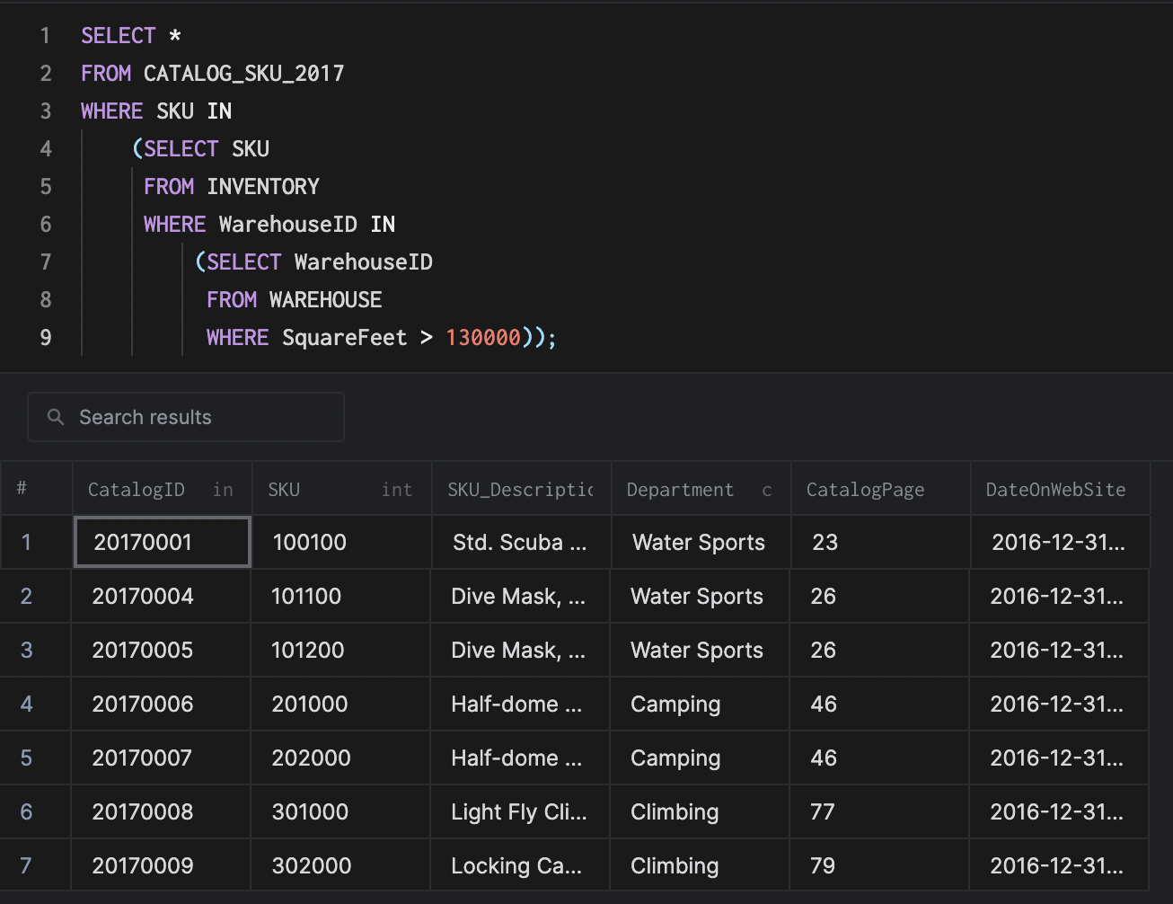 arctype nested subquery results view