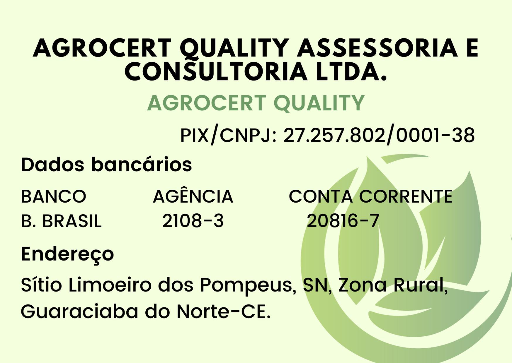 Dados bancários Agrocert Quality