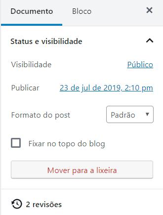 bloco de edição do documento com opção de revisões
