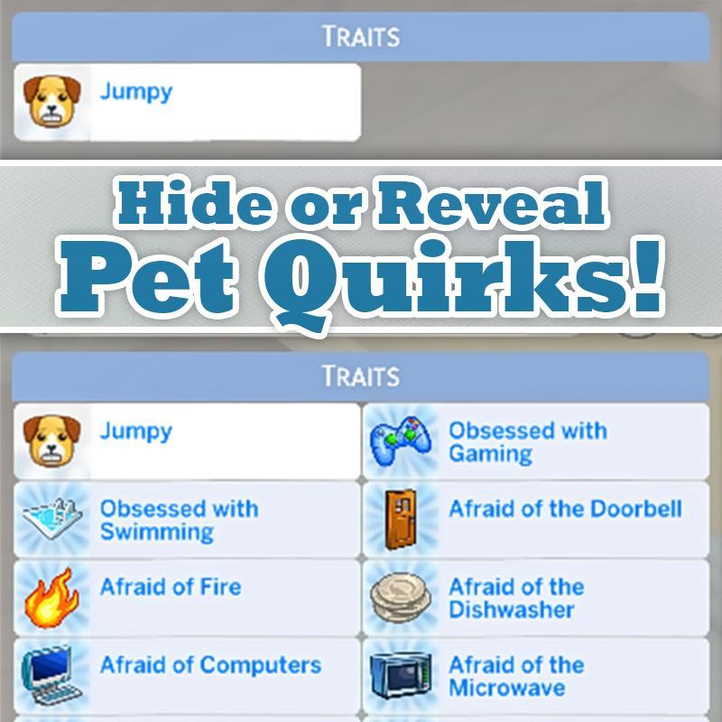 Sims 4 Trait mod - Hide or Reveal Pet Quirks