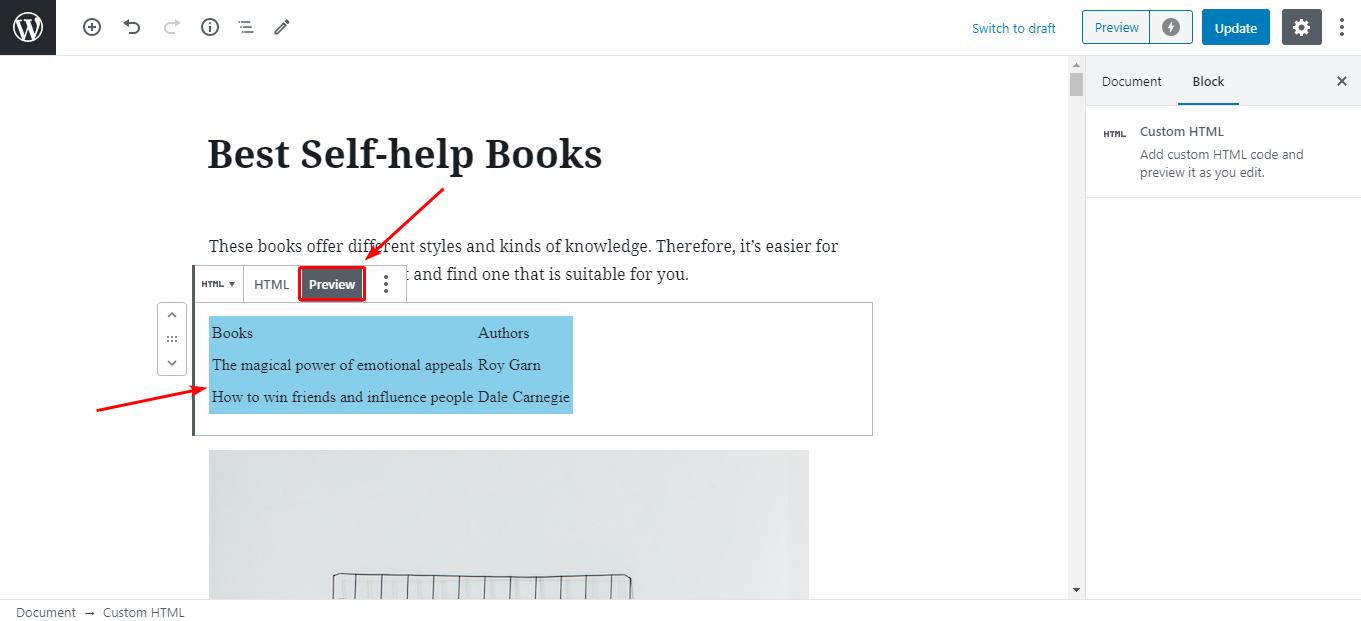 đoạn code HTML hiển thị ngoài website WordPress