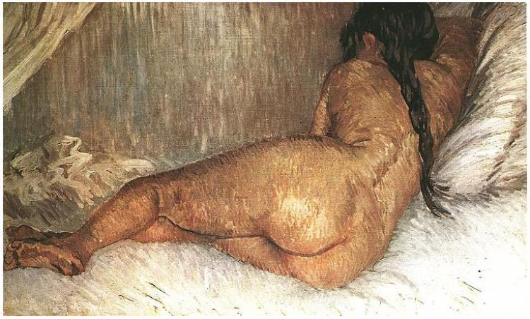 Vincent van Gogh's Mujer desnuda reclinada, vista desde atrás Painting