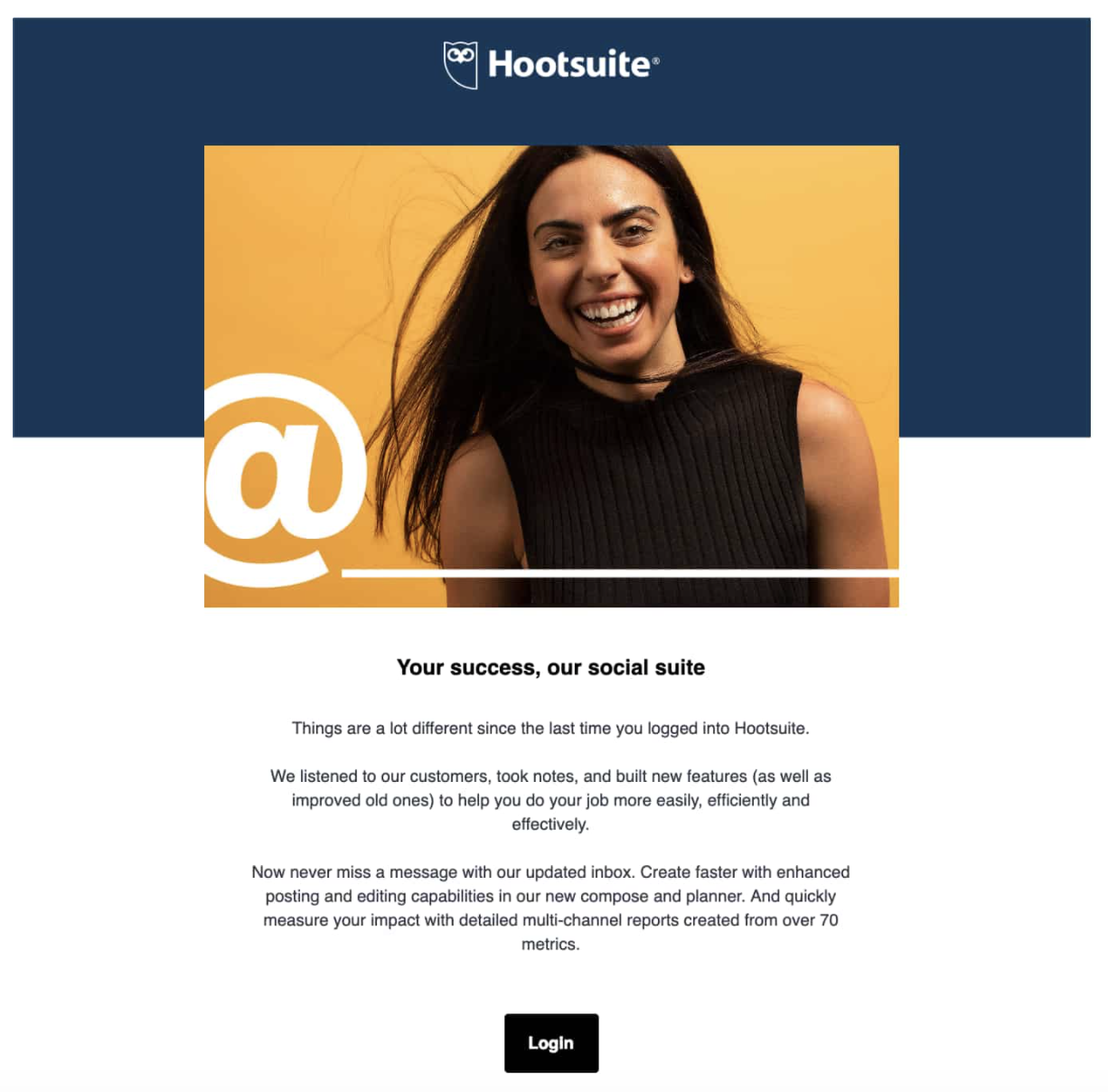 An email that Hootsuite automatically sends to users who haven't logged into their platform for a particular length of time.